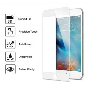 Apple iphone 7 Plus Full covered 3D 100% Genuine Tempered Glass Screen Protector- White