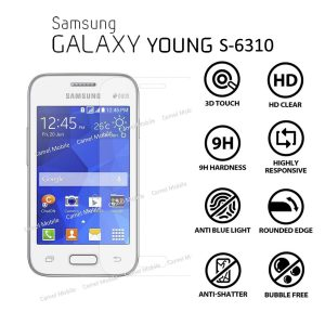 Samsung Galaxy Young ST-S6310 100% Tempered Glass Screen Protector-clear