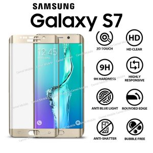 Samsung Galaxy S7 Edge Full Covered 3D 100% Tempered Glass Screen Protector-Gold