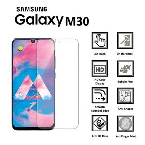 Samsung Galaxy M30 100% Genuine 9H Tempered Glass Screen Protector-clear