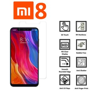 Xiaomi mi 8 100% Genuine Tempered Glass Screen Protector-Clear