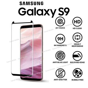 Samsung Galaxy S9 Full Glued 3D 100% Tempered Glass Screen Protector-Black