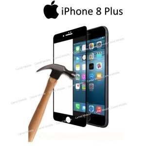 Apple iphone 8 Plus Full covered 3D 100% Genuine Tempered Glass Screen Protector- Black