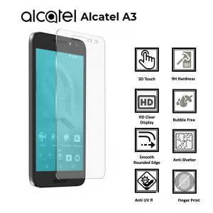 ALCATEL A3 100% Tempered Glass Screen Protector-Clear