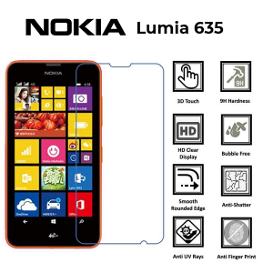Nokia Lumia 635 100% Genuine Tempered Glass Screen Protector – Clear