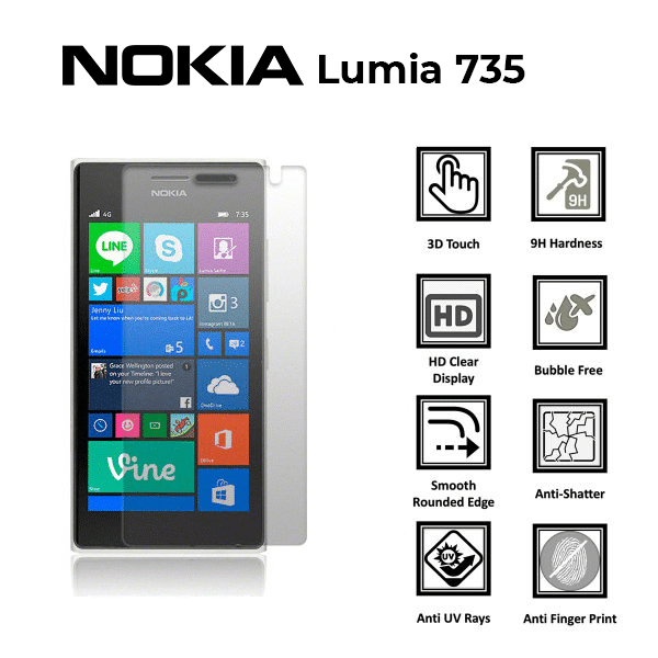 Nokia Lumia 735 100% Genuine Tempered Glass Screen Protector - Clear