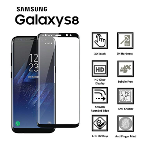 Samsung Galaxy S8 Full Glued 3D 100% Tempered Glass Screen Protector-Black