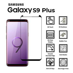 Samsung Galaxy S9 Plus Full Glued 3D 100% Tempered Glass Screen Protector-Black