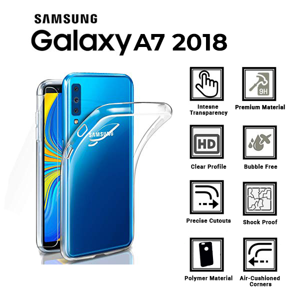 A BETTER MINIMALIST CASE for Samsung-A7-2018, Ultra Thin [1.5mm] Slim Fit Flexible Soft TPU Case for Samsung-A7-2018